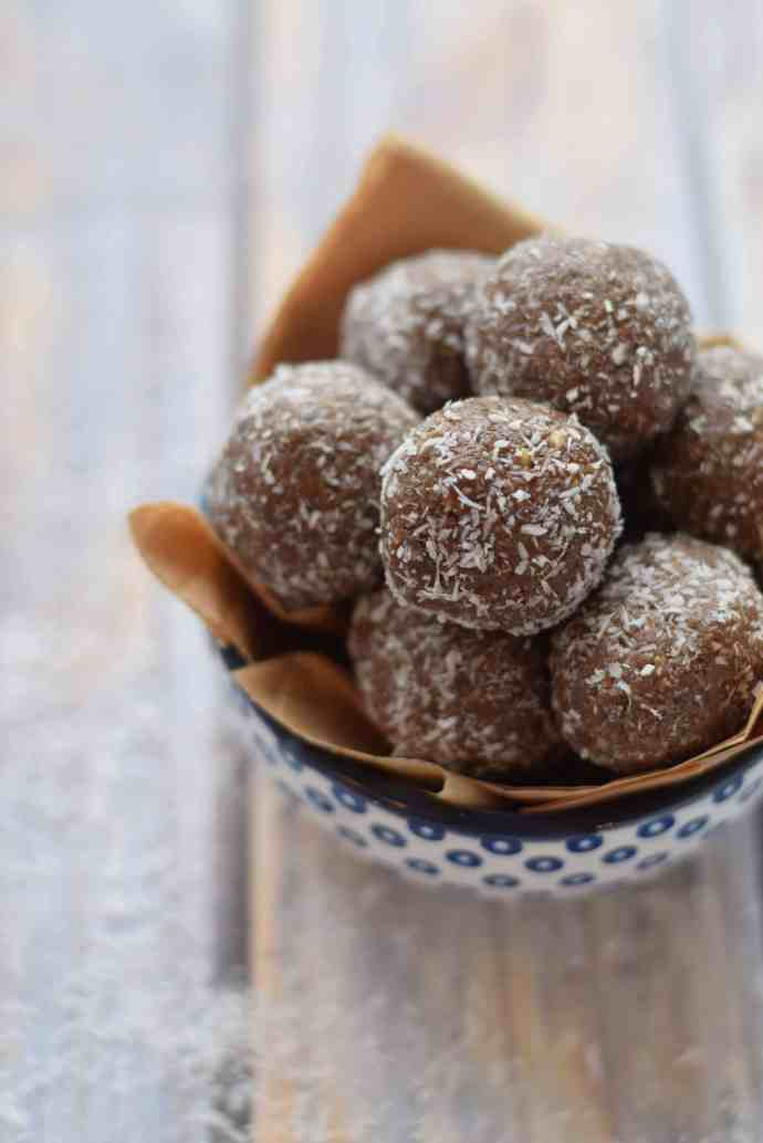 Chocolate Almond Butter Protein Balls stacked up