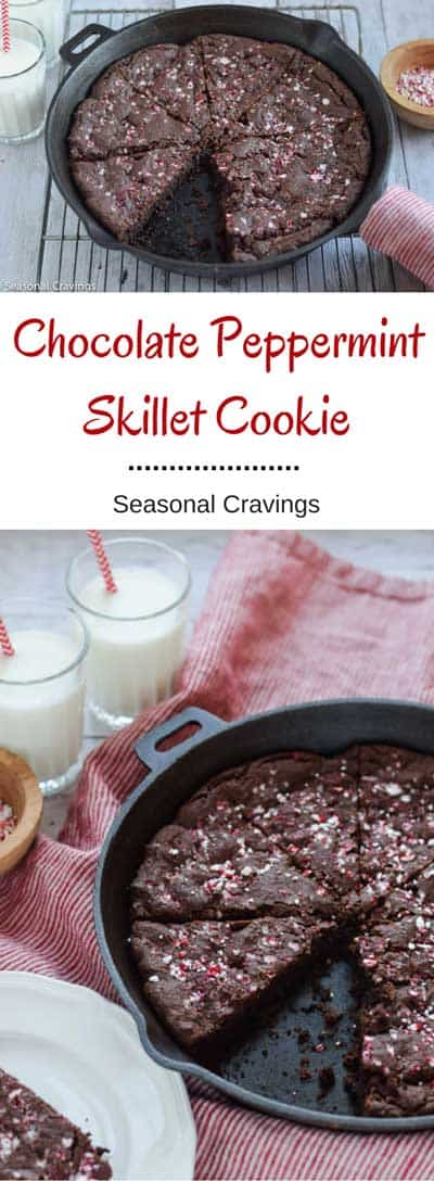 Chocolate Peppermint Skillet Cookie