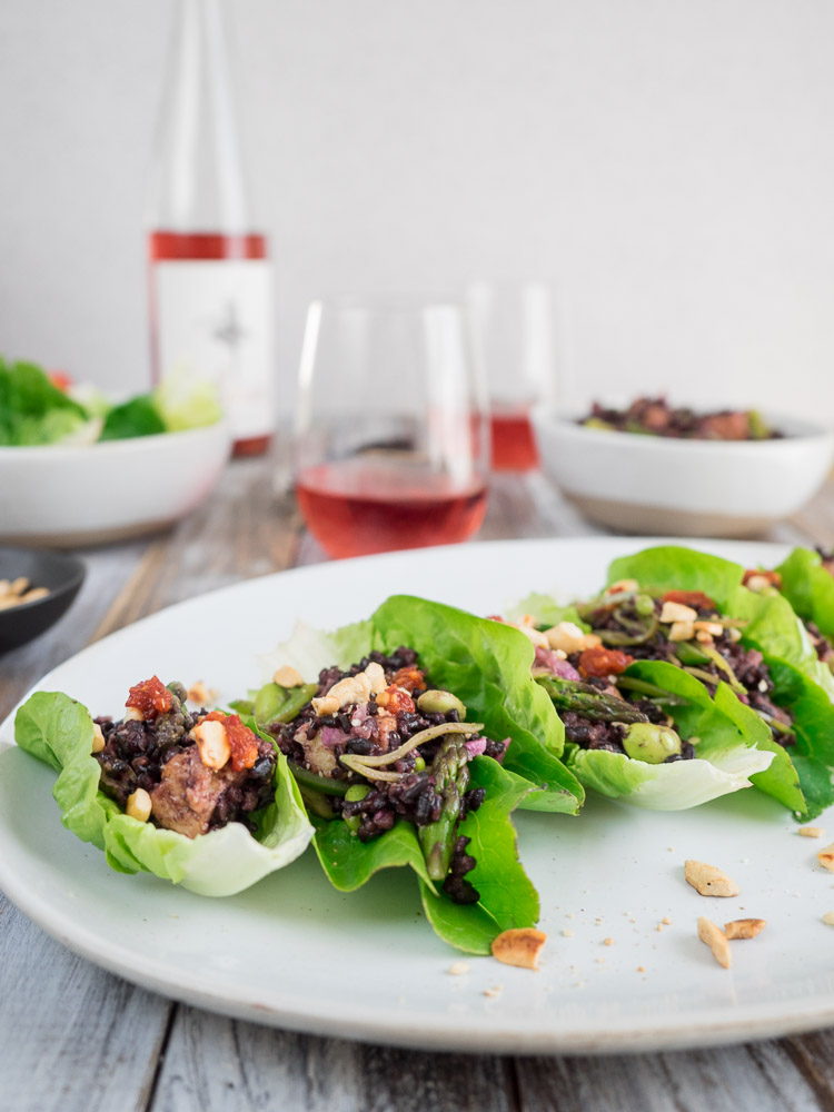 Black Rice Lettuce Wraps | These black rice lettuce wraps are easy to prepare and assemble. A flavorful appetizer or main dish, perfectly paired with a rose wine. | SeasonedVegetable.com