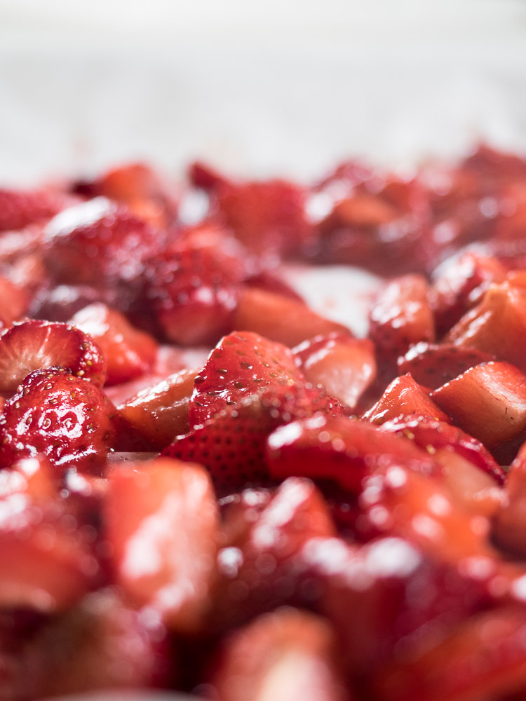 Easy Roasted Strawberry Compote | This easy roasted strawberry compote is the perfect addition to your morning breakfast! Great with oatmeal and granola or on top of an ice cream dessert. | SeasonedVegetable.com