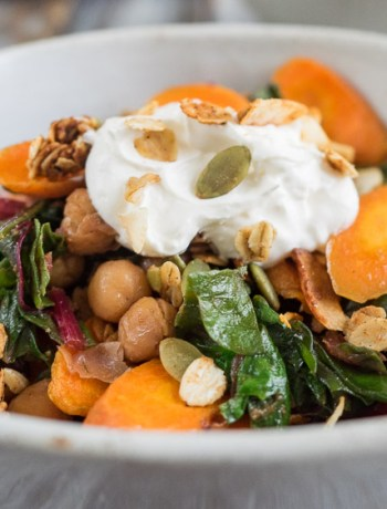 Chickpea Chard Recipe | This Moroccan inspired chickpea chard recipe is served with roasted carrots, labneh and savory granola. Full of flavor, it's the perfect lunch or side dish. | SeasonedVegetable.com