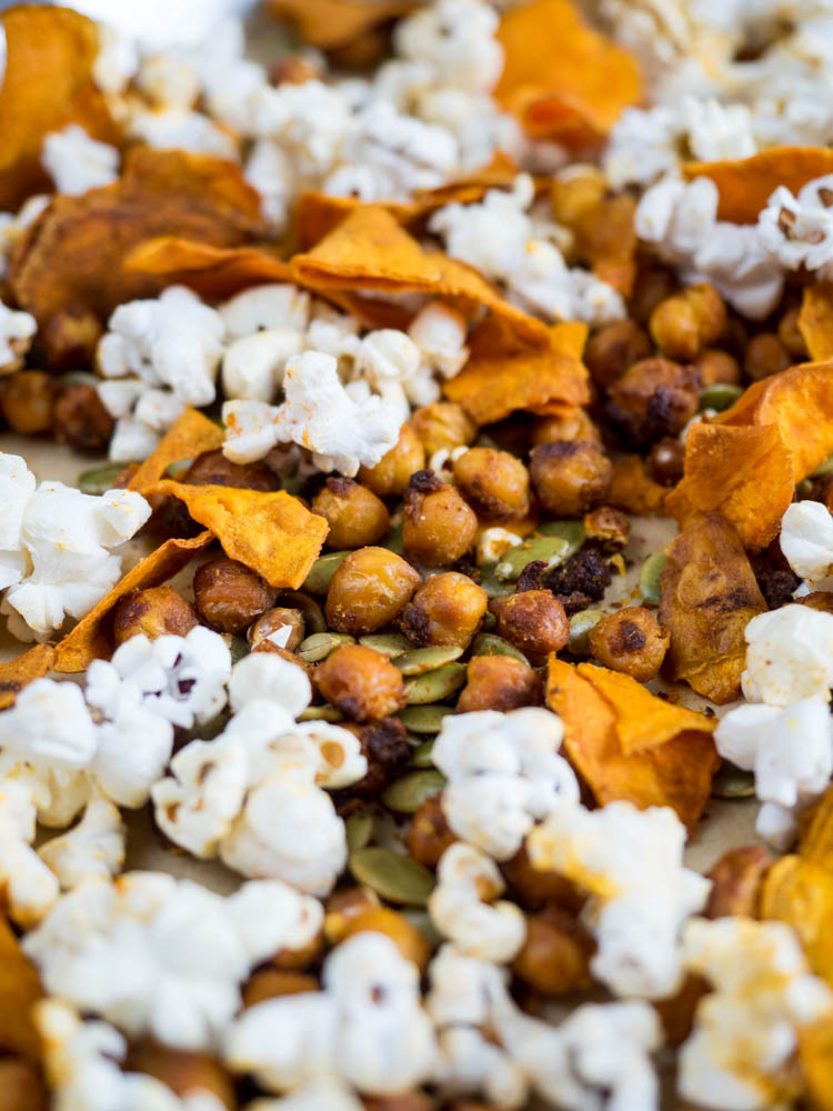 Spiced Chickpea Snack Mix | A savory, crunchy, spiced chickpea snack mix with pepitas, popcorn and sweet potato chips. Perfect for parties, snacking or football tailgates. | SeasonedVegetable.com #glutenfree #vegan #vegetarian #snack