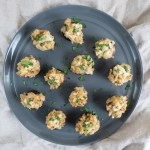 Risotto Stuffed Mushrooms | Easy, risotto stuffed mushrooms are bursting with flavor! These gluten free, vegetarian appetizers are perfect for the holidays. | SeasonedVegetable.com #stuffedmushrooms #fallrecipes #vegetarianappetizer
