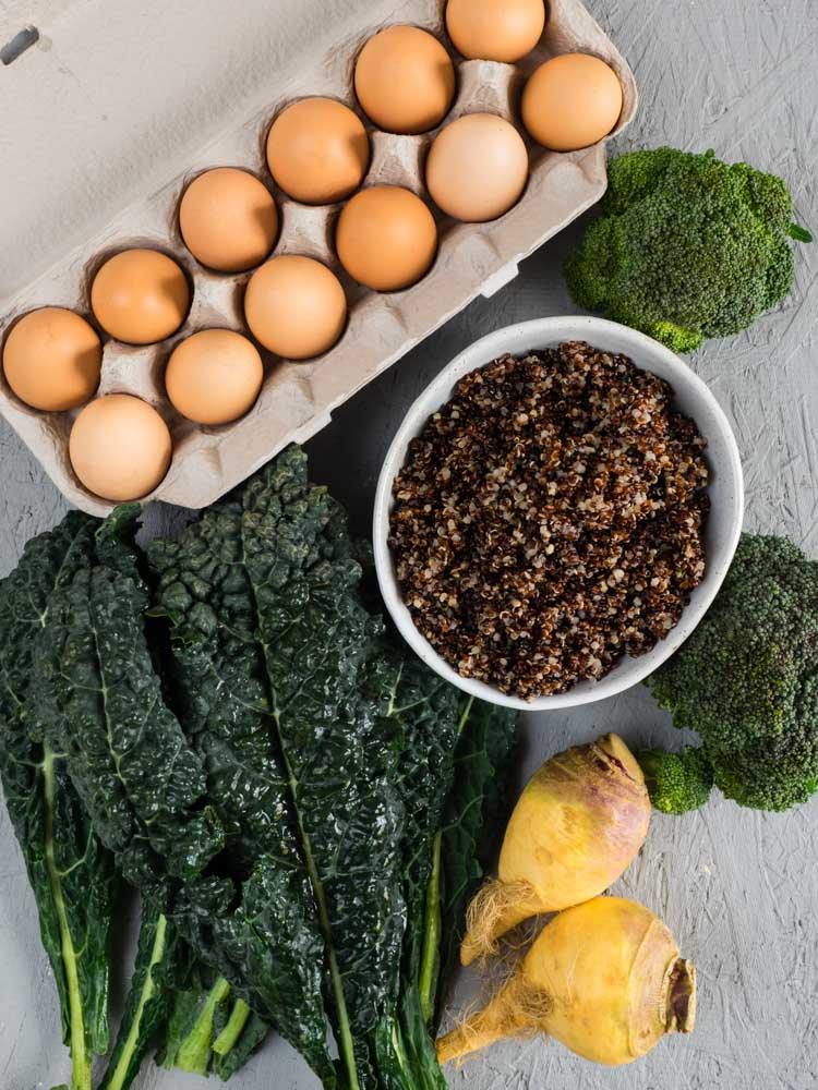 Ingredients for a vegetarian breakfast casserole
