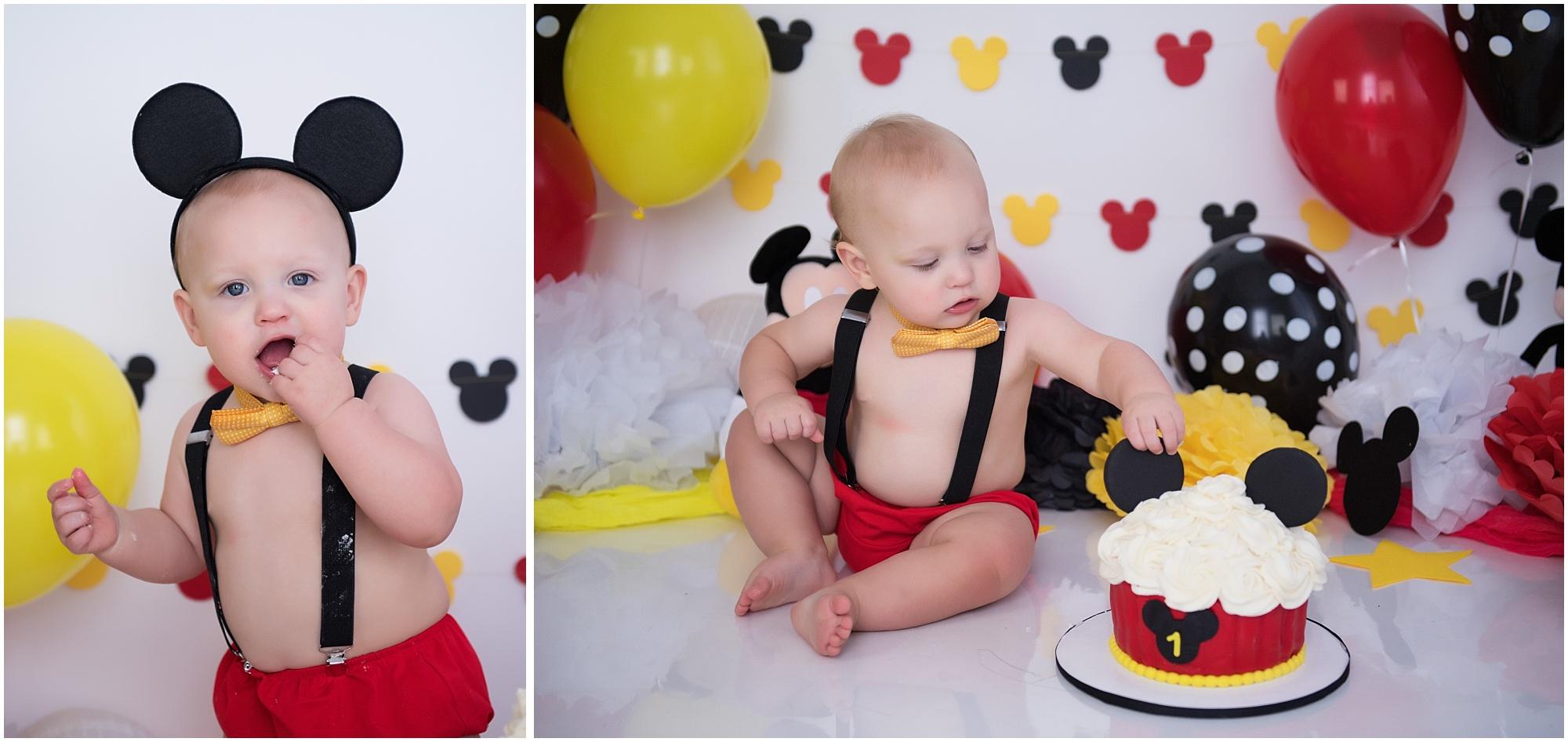 Mickey Mouse Cake Smash A Disney First Birthday Season Moore Photography