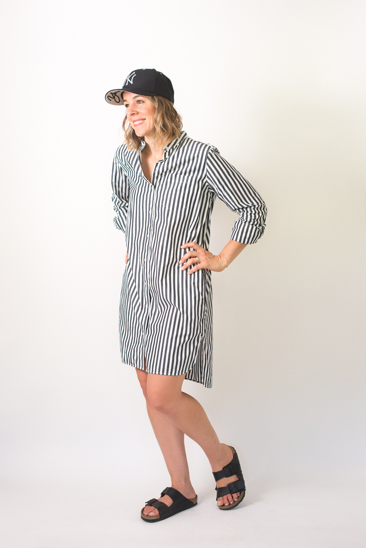 6cc19fd72f5 ... Seasons and Salt Everlane Cotton Poplin Collarless Shirt Dress-5 ...