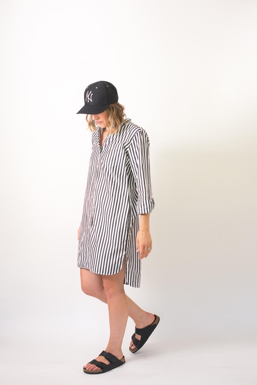 f7aad7e3198 ... Seasons and Salt Everlane Cotton Poplin Collarless Shirt Dress-6