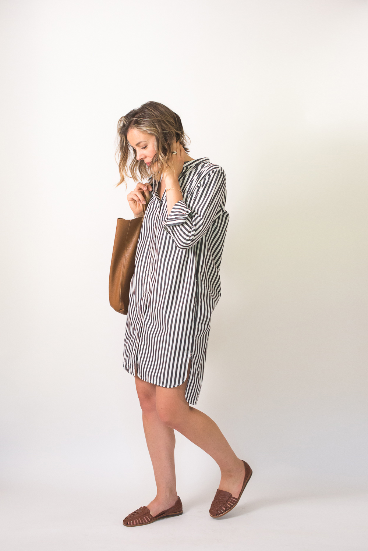 70c0ae647b2 Seasons and Salt Everlane Cotton Poplin Collarless Shirt Dress-7 ...