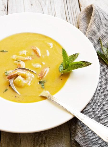 Slow Cooker Thai Butternut Squash Soup with Shrimp