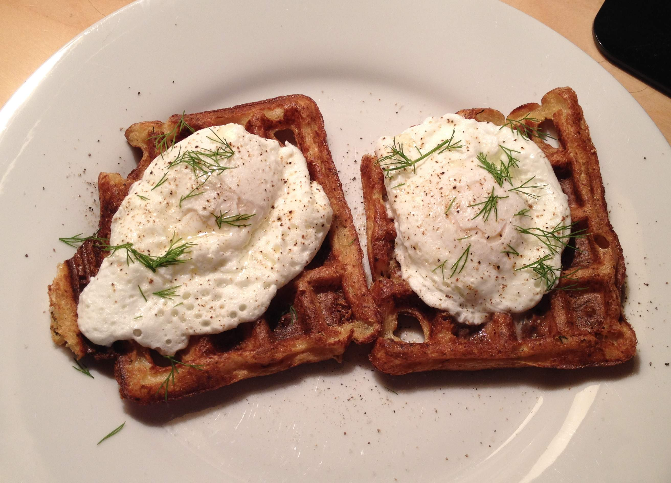 Mashed Cauliflower Waffles with Poached Eggs, Truffle Oil, and Fresh Dill