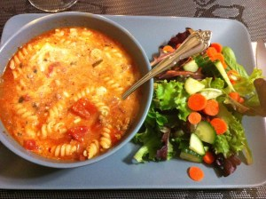 Lasagna Soup and salad (A Seat at the Table)