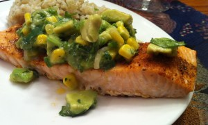 Spice-Rubbed Salmon with Avocado Salsa (A Seat at the Table)