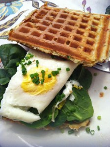 Cheddar Scallion Waffle Egg Sandwich (A Seat at the Table)