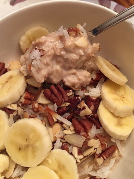Creamy Banana Oatmeal with nut topping (A Seat at the Table)