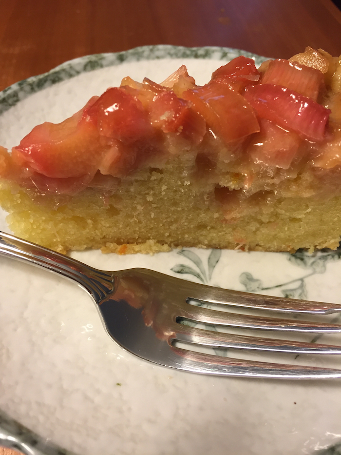 Rhubarb Upside-Down Cake slice (A Seat at the Table)