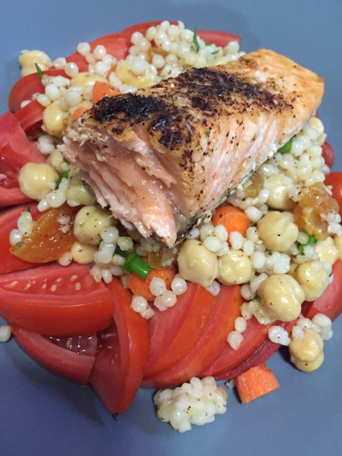 Sumac Salmon and Israeli Couscous Salad (A Seat at the Table)