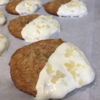 Ginger Oatmeal Cookies with White Chocolate and Candied Ginger