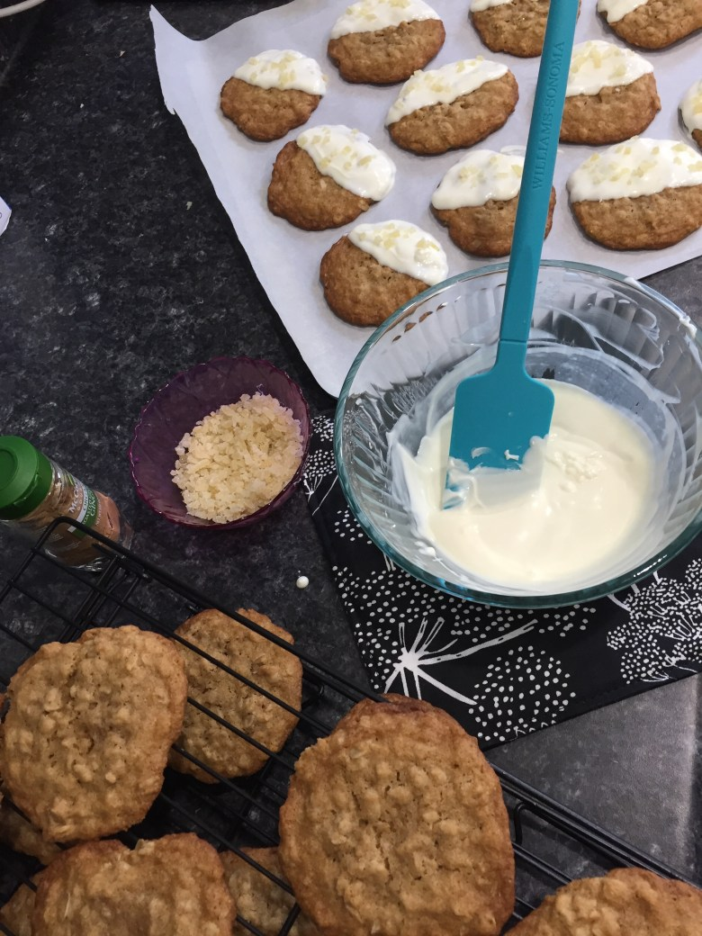 Ginger Oatmeal Cookies dipped in White Chocolate and Candied Ginger (A Seat at the Table)