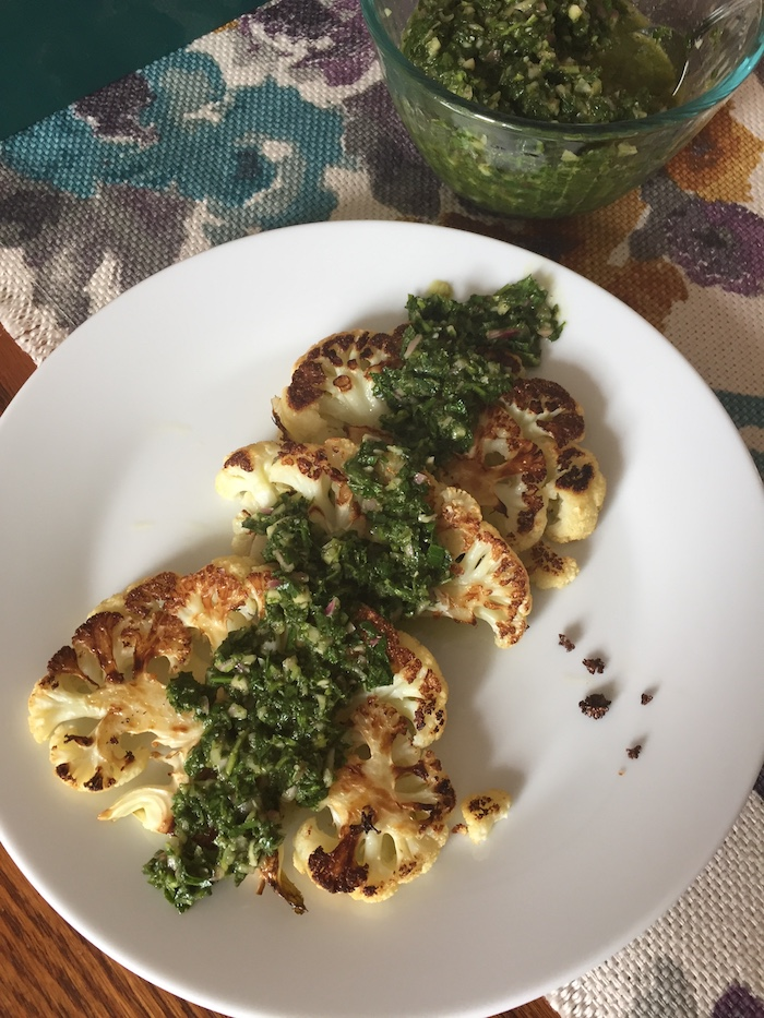 Chimichurri on Cauliflower (A Seat at the Table)