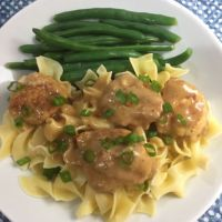 Marsala Chicken Meatballs with Egg Noodles