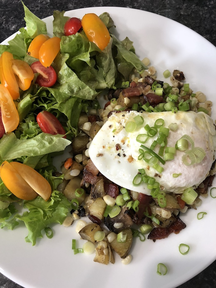 Bacon Corn Hash with Fried Egg and Salad (A Seat at the Table)