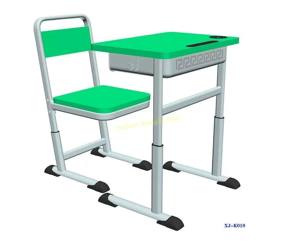 K019 Single Dual Modern Student Desk And Chair Set With Groove Hdpe Material