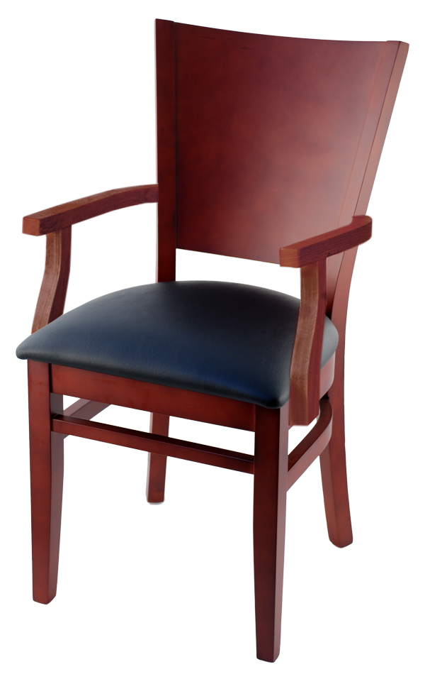 Premium Curved Back Wood Restaurant Chair With Arms