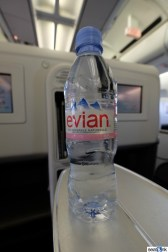 Evian bottled water given at boarding