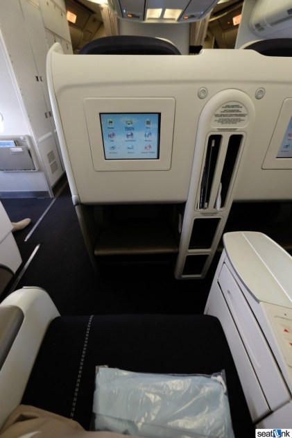 The Air France seat and IFE screen in business class