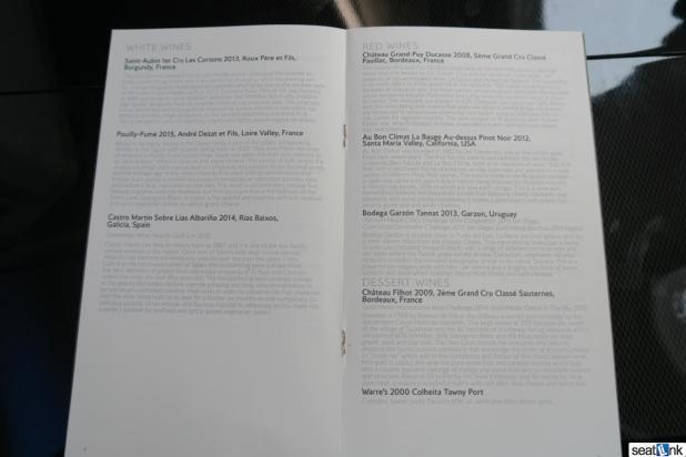 British Airways First class wine list