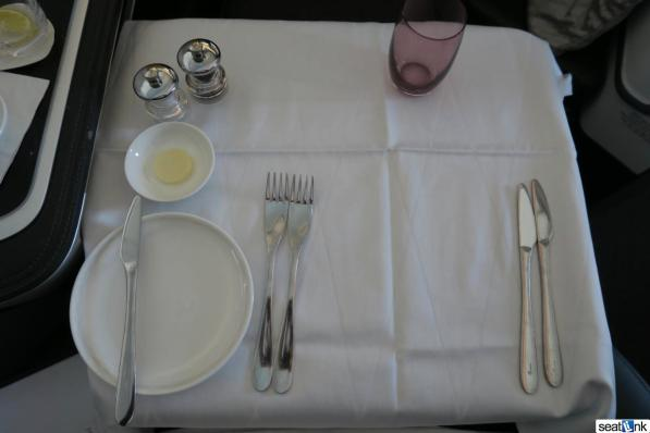 Getting ready for dinner in British Airways first class