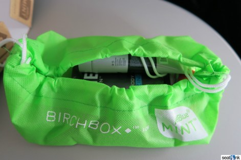 The inside of the Birchbox amenity kit in Mint