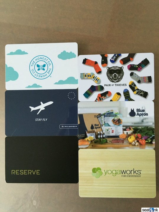 Gift cards in the JetBlue Mint amenity kit, one of which I actually used!