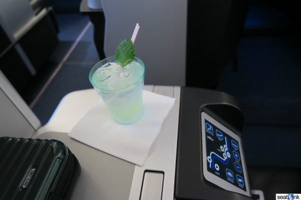 """The official JetBlue """"Mint"""" cocktail PDB, which was actually quite refreshing...and minty!"""