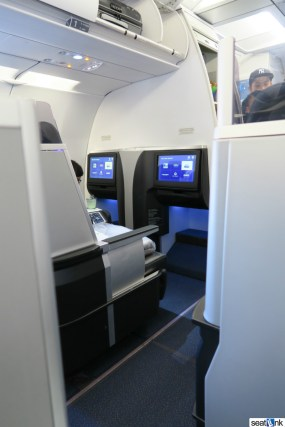 Notice the extra footspace for the 2-2 seats at the bulkhead for Mint first row