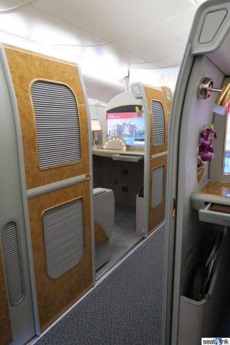 The view from one A380 suite to another on Emirates