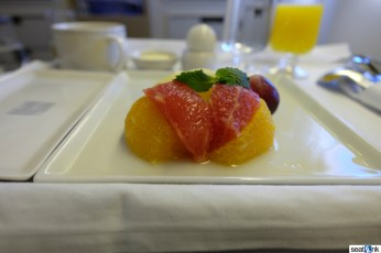 Breakfast fruit served on this early morning flight