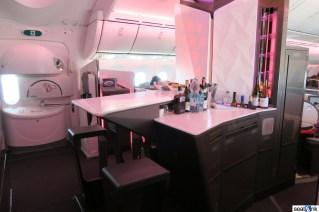 Virgin Atlantic onboard bar in Upper Class
