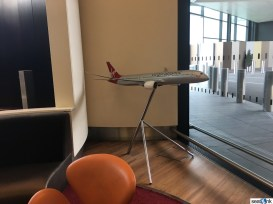 A model of Virgin's 787-9 in the Upper Class Wing at LHR