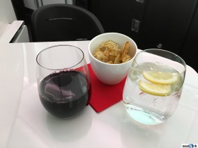 Post-departure wine and crisps