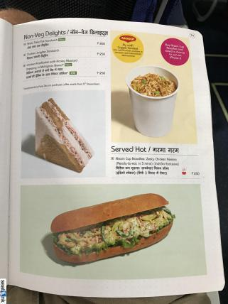 IndiGo inflight food menu