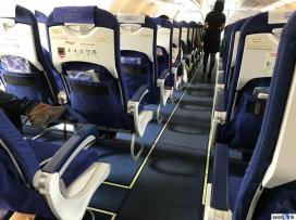View down the aisle of IndiGo A320