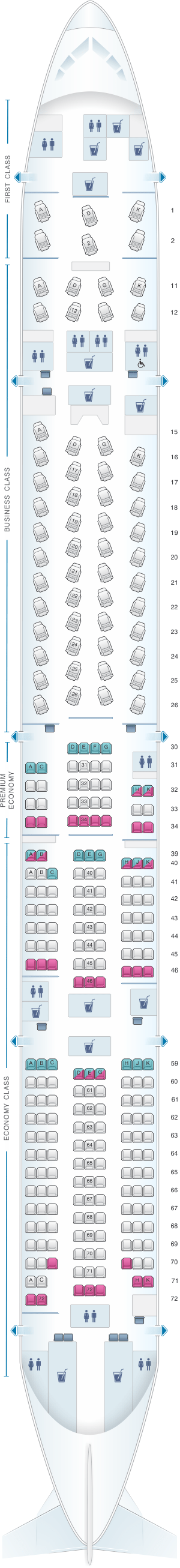 Seat Map For Cathay Pacific Airways Boeing B777 300 77h