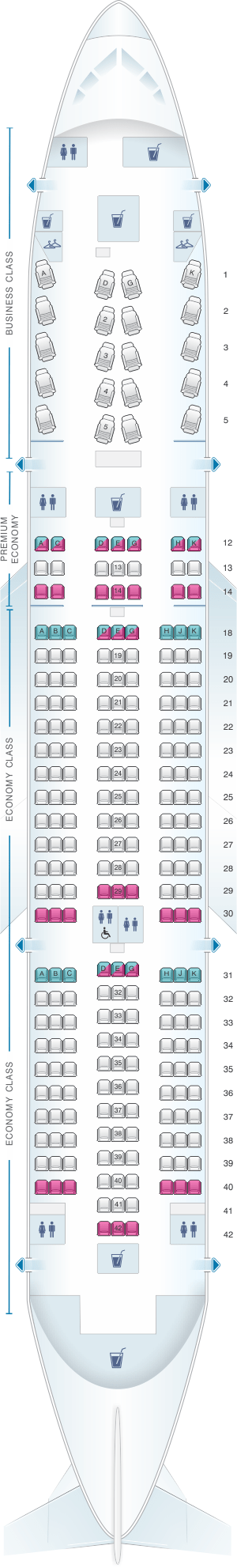 Seat Map For Air Canada Boeing B787 8 788 International