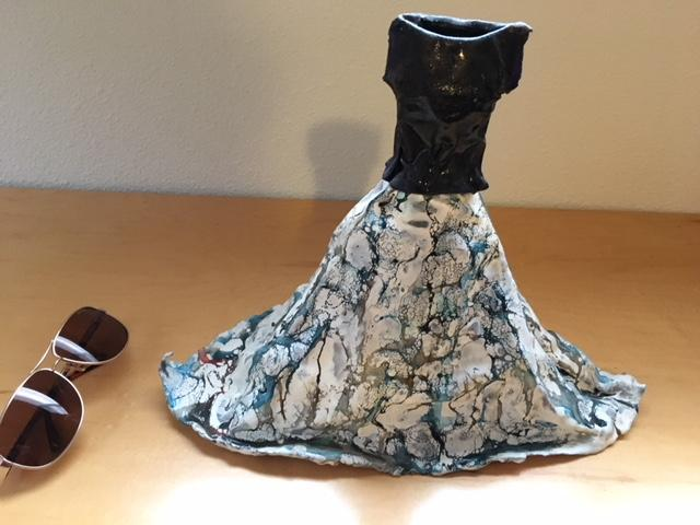 "11"" high Dress/Gown glassy look but fiberglass, used to be on tiny hanger"