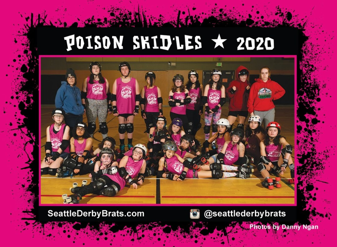 Poison Skid'les 2020 Team Photo featuring the junior roller derby team in their pink jerseys, safety gear, and helmets that showcase their personality.