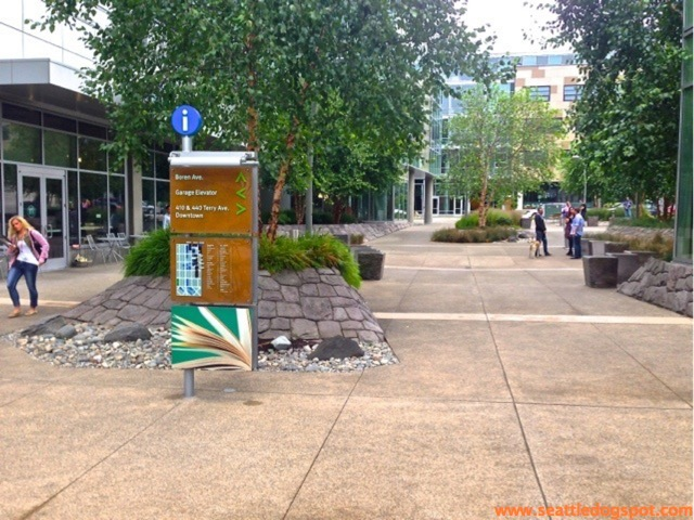 Amazon's campus has lots of open space where people can walk or hang out with their dogs