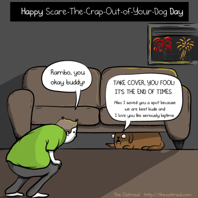Dog Scared of Fireworks - Comic from theoatmeal.com.
