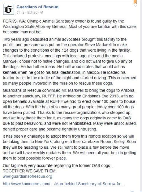 """Guardians of Rescue posted last April that it would bring the 14 remaining dogs from the """"Sanctuary"""" to NY because it would be easier to find homes for them. The dogs are still in Arizona. Image from Guardians of Rescue."""