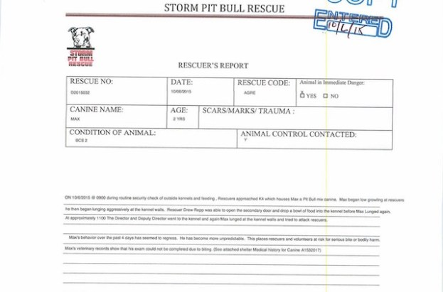 Once again, Storm Rescue filled out a form about Max to JAS that doesn't mention that Max bit anyone.